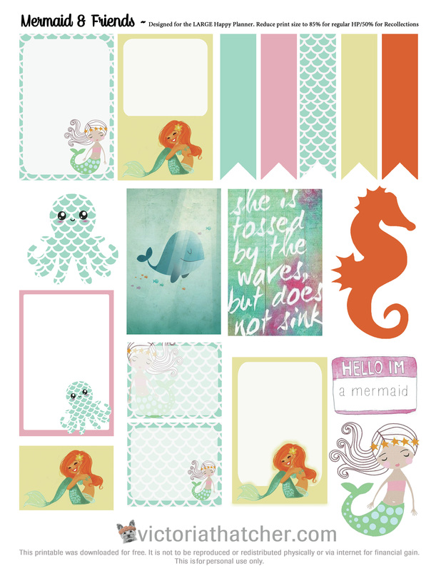 mermaid and friends planner printable   victoria thatcher
