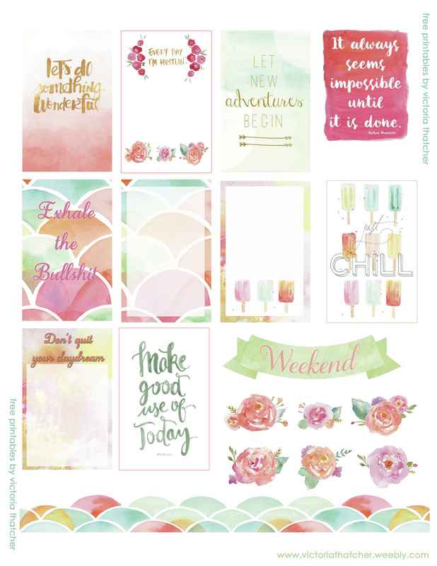 image regarding Watercolor Printable named Watercolor Planner Printable - VICTORIA THATCHER
